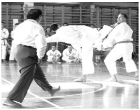 Kumite is free-style Karate fighting